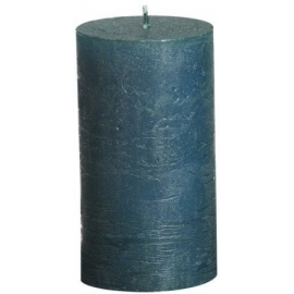 Turquoise Metallic Pillar Candle