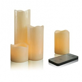 LED Wax Ivory Pillar Candle with Remote Control Set of 4